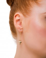 pave diamond and heart drop earrings side view-small